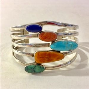 Jewelry - Signed sterling gemstone cuff, 44.8g